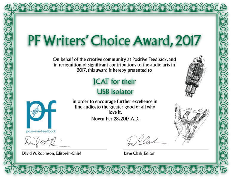 JCAT USB Isolator PF Writers Choice Award
